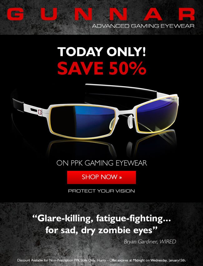 Wildcard Wednesday - Save 50% on PPK Gaming Glasses