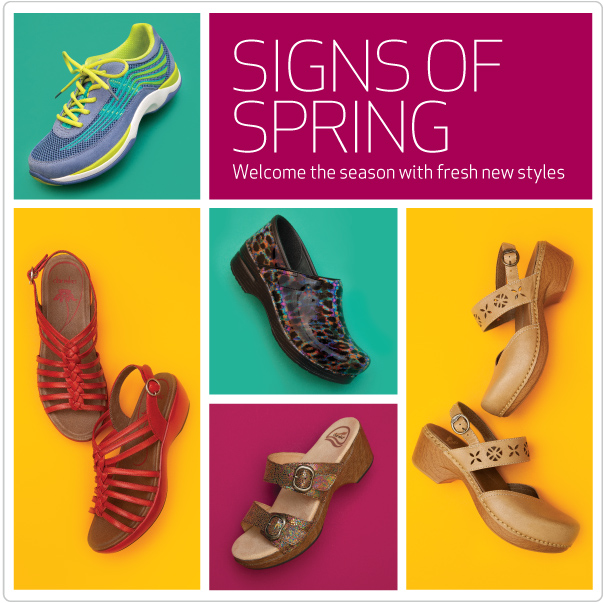 Signs of spring- welcome the season with fresh new styles.