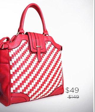 Segolene Paris 100% Leather Basket Weave Detail Tote