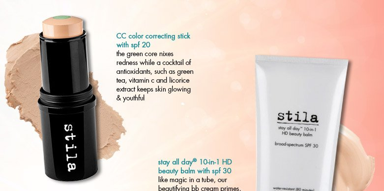 products featured: CC color correcting stick with spf 20 and stay all day 10-in-1 HD beauty balm with spf 30