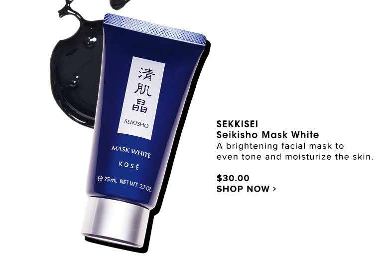 SEKKISEI Seikisho Mask White A brightening facial mask to even tone and moisturize the skin.$30.00 Shop Now>>
