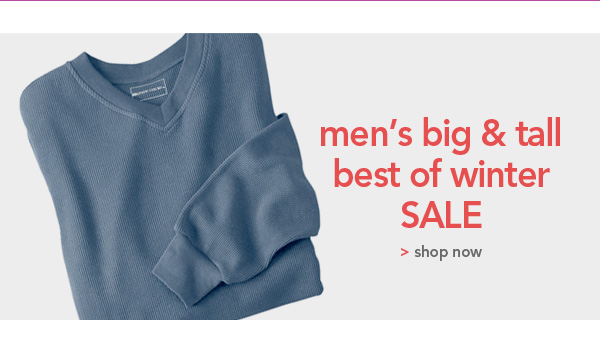 Shop Mens Big and Tall best of winter sale