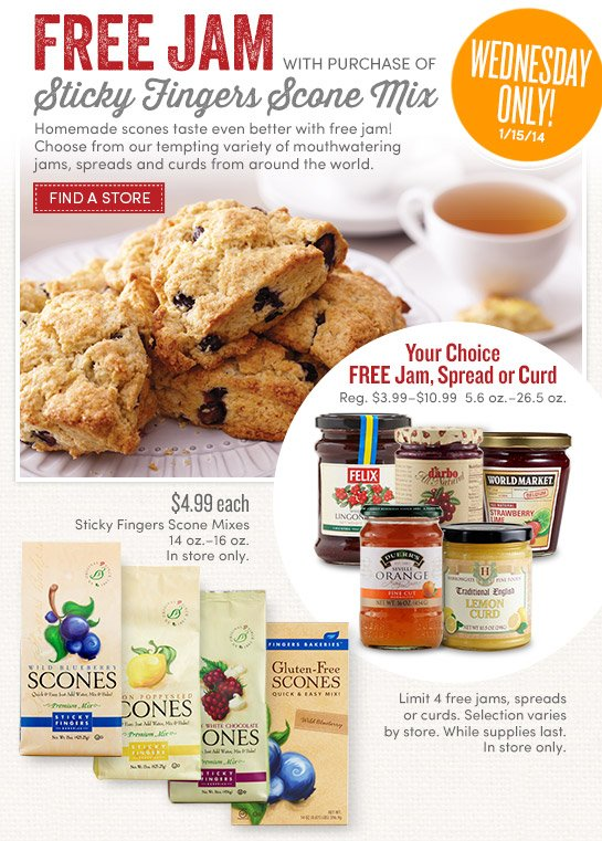 Today Only! Free Jam with purchase of Sticky Fingers Scone Mix!