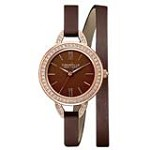 Caravelle 44L130 Womens New York Brown Dial Brown Leather Strap Quartz Watch
