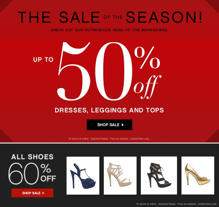 THE SALE OF THE SEASON - UP TO 50% OFF DRESSES, LEGGINGS, AND TOPS