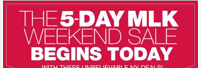 5  Day MLK Weekend Sale Begins Today!