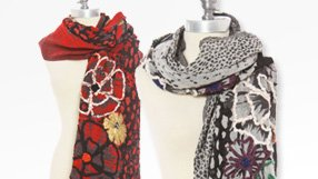 Hand Embroidered Boiled Wool Scarves