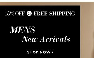15% off and Free Delivery on Mens New Arrivals