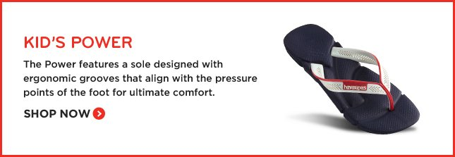 KID'S POWER - The Power features a sole designed with ergonomic grooves that align with the pressure points of the foot for ultimate comfort. SHOP NOW.