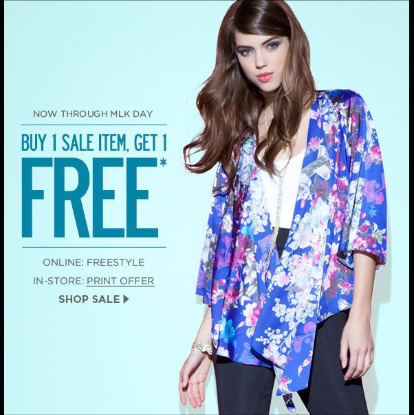 Buy 1 Sale Item, Get 1 Free