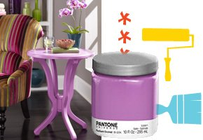 Radiant Orchid Paint and Table