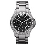 Fossil CE1067 Women's Riley Crystal Accented Bezel Black Dial Ceramic Bracelet Watch