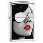 Zippo 28274 Gold Design High Polish Chrome BS Sunglasses Windproof Pocket Lighter