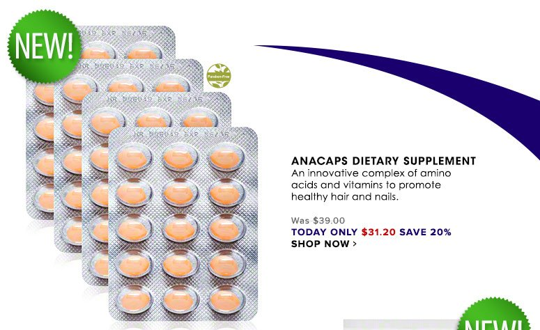 Anacaps Dietary Supplement An innovative complex of amino acids and vitamins to promote healthy hair and nails.Was $39.00 Now $31.20 Shop Now>>