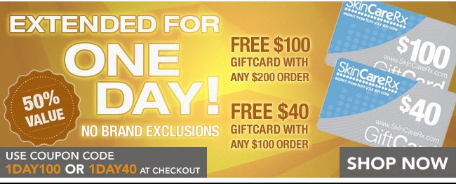 Use Coupon Code 1DAY100 or 1DAY40 at Checkout!