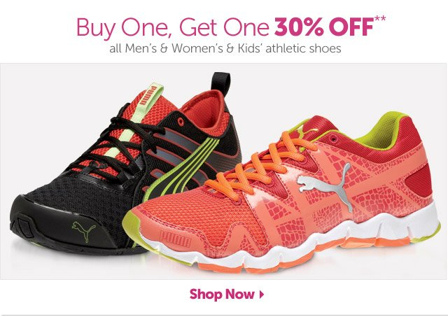 Buy One, Get One 30% OFF** all Men's & Women's & Kids' athletic shoes - Shop Now