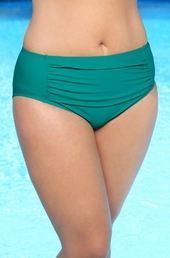Women's Plus Size Swimwear - Always For Me Separates Ruched Brief #8601 - Jade Green $35