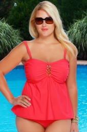 Women's Plus Size Swimwear - Always For Me Separates Status Link Underwire Tankini Top #8209 - Hot Coral $69
