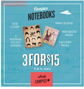 3 for $15 Campus Notebooks