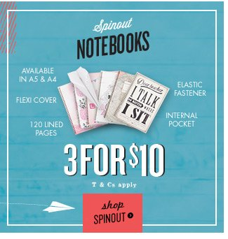 3 for $10 Spinout Notebooks