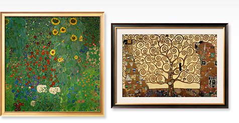 FARM GARDEN WITH SUNFLOWERS, C.1912 and THE TREE OF LIFE, STOCLET FRIEZE, C.1909 By: Gustav Klimt