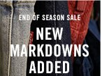 End of season sale. New Markdowns Added!