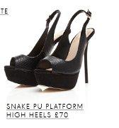 Snake Pu Platform High Heels