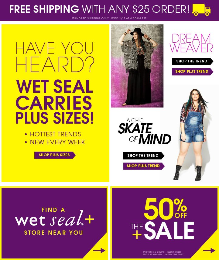 Have you heard? Wet Seal carries plus sizes!