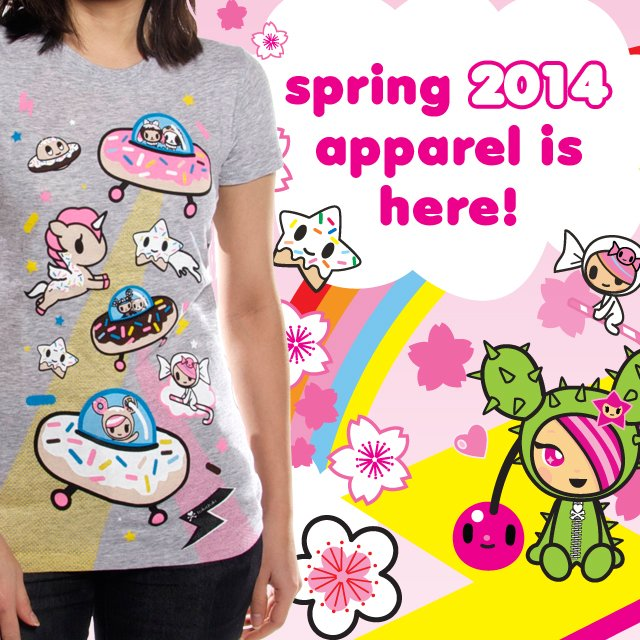 Brighten up your wardrobe with our new tokidoki and TKDK spring apparel! Explore outer space with Donutella and her sweet friends, wreak havoc in the city with Kaiju, or take a fruity splash with Stellina. Check out these styles and the rest of our collection in our online store now!