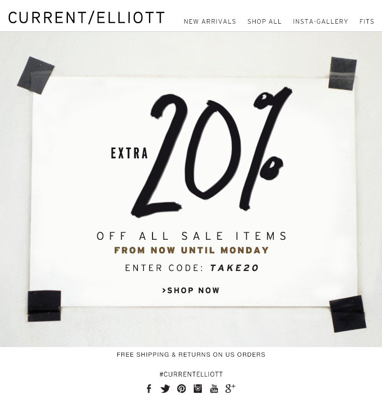 EXTRA 20% OFF ALL SALE ITEMS FROM NOW UNTIL MONDAY ENTER CODE: TAKE20 >SHOP NOW