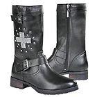 Xelement 'Stud Cross' Womens Leather Biker Boots
