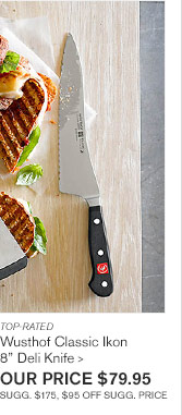"TOP-RATED - Wusthof Classic Ikon - 8"" Deli Knife - OUR PRICE $79.95 - SUGG. $175, $95 OFF SUGG. PRICE"