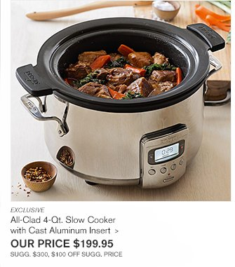 EXCLUSIVE - All-Clad 4-Qt. Deluxe Slow Cooker with Cast Aluminum Insert - OUR PRICE $249.95 - SUGG. $400, $150 OFF SUGG. PRICE