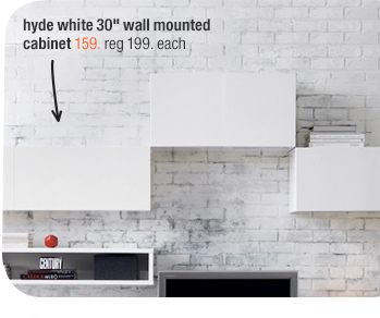 hyde white 30in wall mounted cabinet 159.  reg 199. each