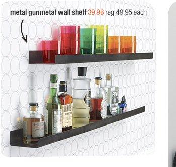 metal gunmetal wall shelf 39.95 reg 49.95  each