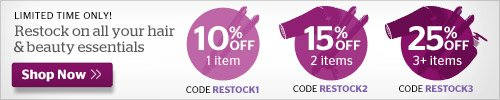 Restock your hair and beauty essentials! Up to 25% off