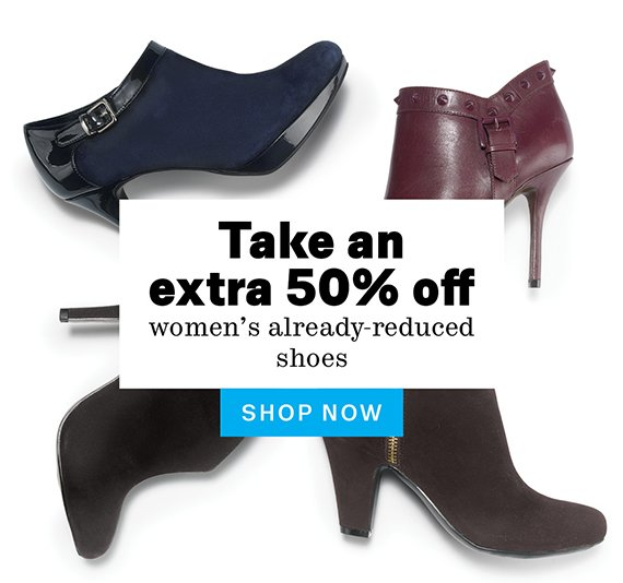 Take an extra 50% off women's already-reduced shoes. Shop Now.