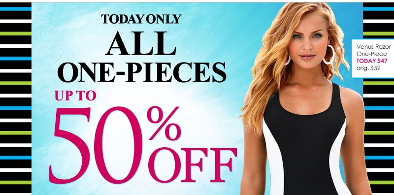 TODAY ONLY! Up to 50% OFF all One-Piece Swimsuits!