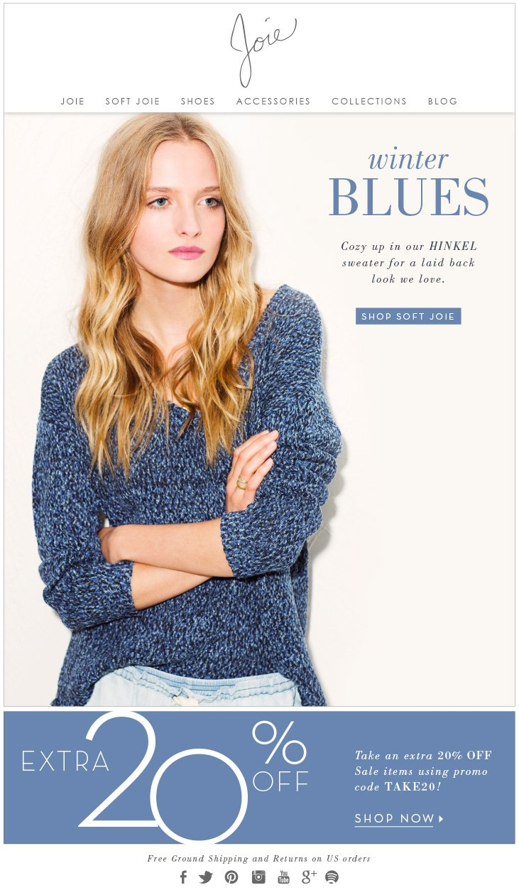 winter BLUES Cozy up in our HINKEL sweater for a laid back look we love. SHOP SOFT JOIE