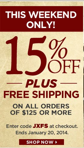 15% off + free shipping