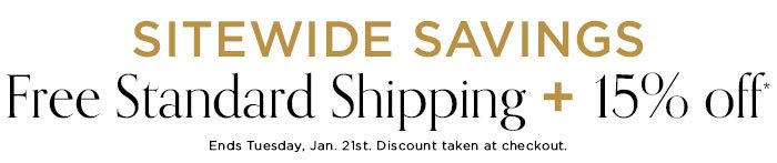 15% off + Free Shipping sitewide