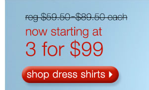 Reg. $59.50-$89.50 Now Starting At 3 for $99: Shop Dress Shirts