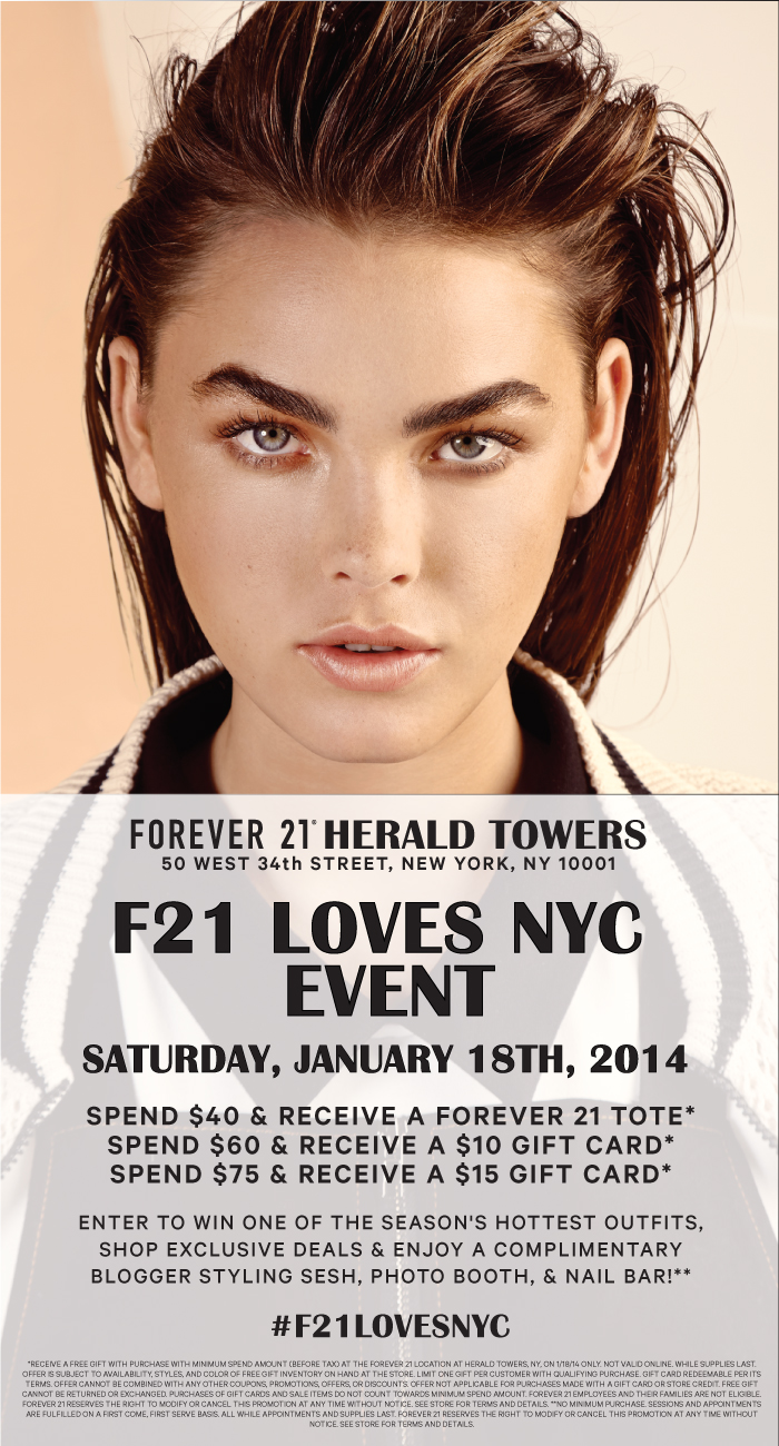F21 Loves NYC Shopping Event | January 18th 8am | Herald Towers |  New York, NY
