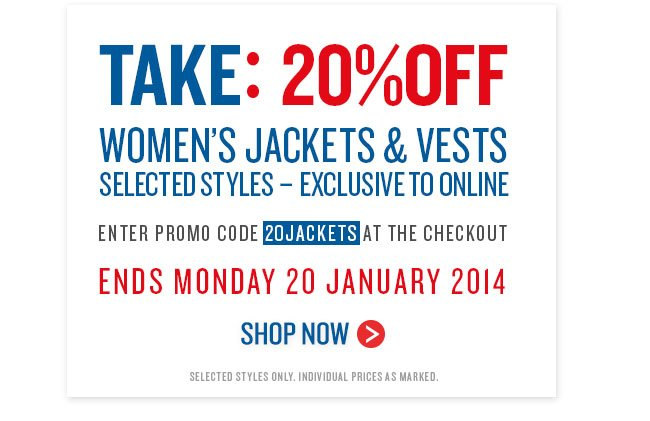 Take: 20% Off Women's Jackets & Vests