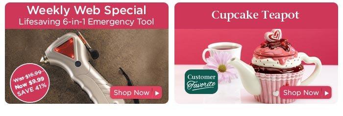 Emergency  Tool & Cupcake Tea Pot