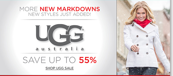 Find more NEW UGG® Australia markdowns and save up to 55%! Plus, Now through Monday, save an extra 25% off ALL Final Clearance and ALL Sale Boots! Find great styles and limited quantities from UGG® Australia, Raffini, ABEO, Dansko and more of your favorite brands! Shop now to find the best selection online and in stores at The Walking Company.