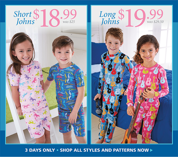 Boys and Girls Short Johns for $18.99, Long Johns for $19.99, 3-Day Sale