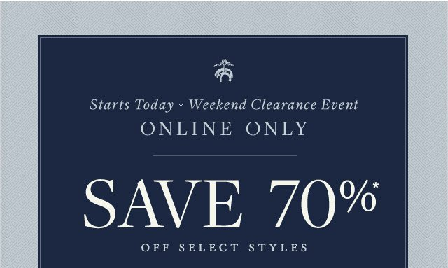 WEEKEND CLEARANCE EVENT