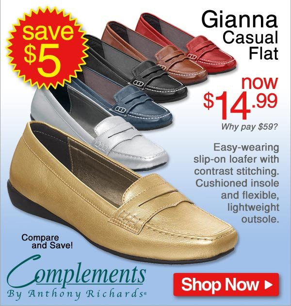 Save $5 - Gianna Casual Flat - Now $14.99 - Shop Now >>