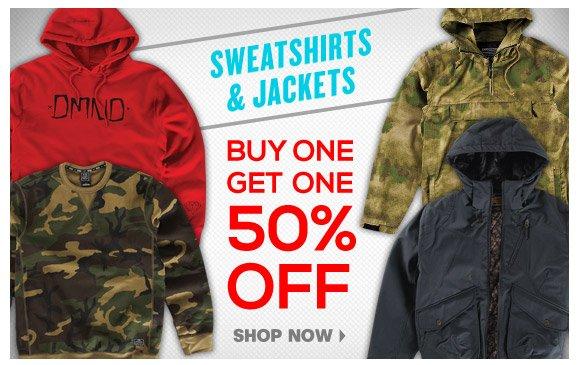 Sweatshirts + Jackets: Buy One Get One 50% Off!